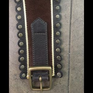 Accessories - Designer Brown Suede Belt with Gold Pipping